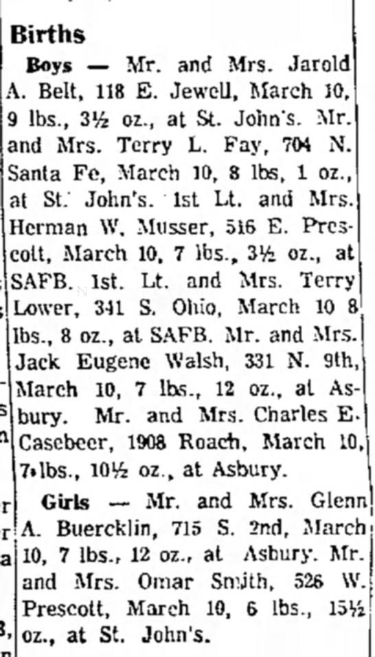 Billy's birth stats - Births Boys — Mr. and Mrs. Jarold A. Belt, 118...