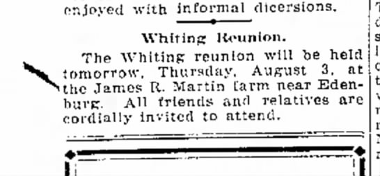 1922 Whiting reunion - enjoyed with inforr 1 dicersions. Whitinp:...