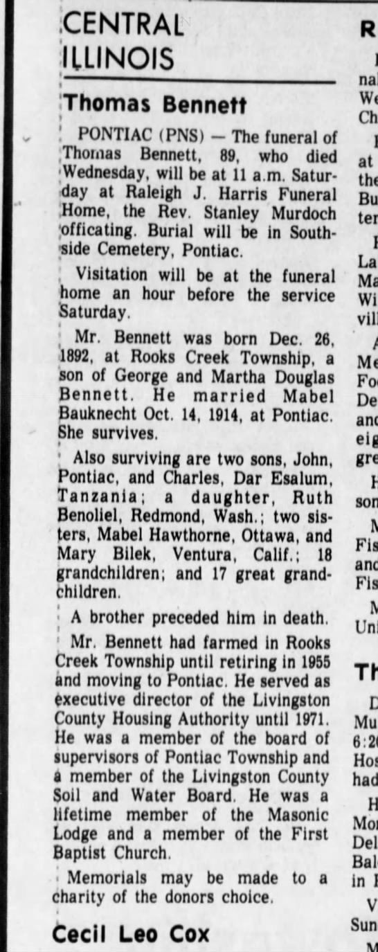 1982 Mabel Freese Bennett - .CENTRAL ILLINOIS Thomas Bennett . : PONTIAC...
