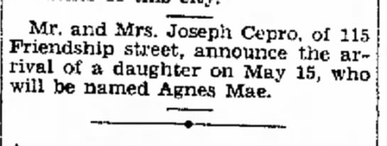 birth announcement of agnes mae cepro - Mr. and Mrs. Joseph Cepro, of 115 rival of a...