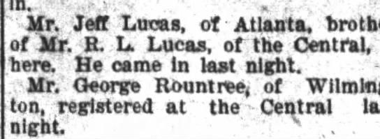 """Jeff Lucas? - In. ' """"- rf. Mr. Jeff Lucas, of Atlanta,..."""