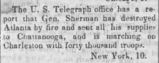 Atlanta destroyed by fire - , .The Lr. S. Telegraph office has a report...