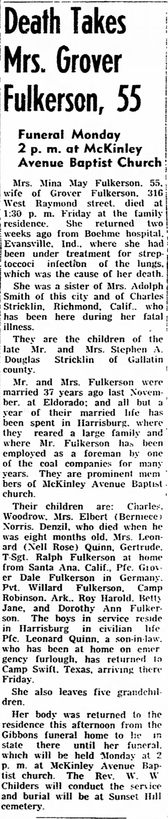 Mrs. Mina May Fulkerson (Stricklin) dies at age 55 - interviews f ' ] j Death Takes Mrs. Grover i...