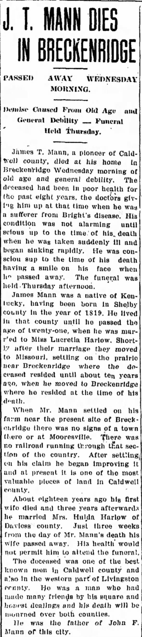 Mann, James Thomas. The Chillicothe Consitution-Tribune (Chillicothe, MO)20 Nov 1908 - Obituary