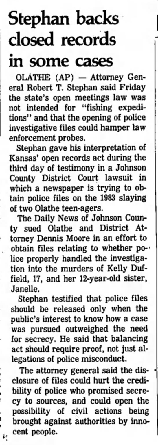 Duffield Murders - 3 Aug 1985 - Salina Journal, Kansas - Stephan backs closed records in some cases...