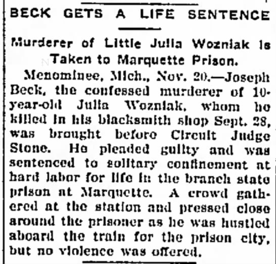Beck gets life sentence article Nov 20 1902 - BECK GETS A LIFE SENTENCE Murderer of Little...