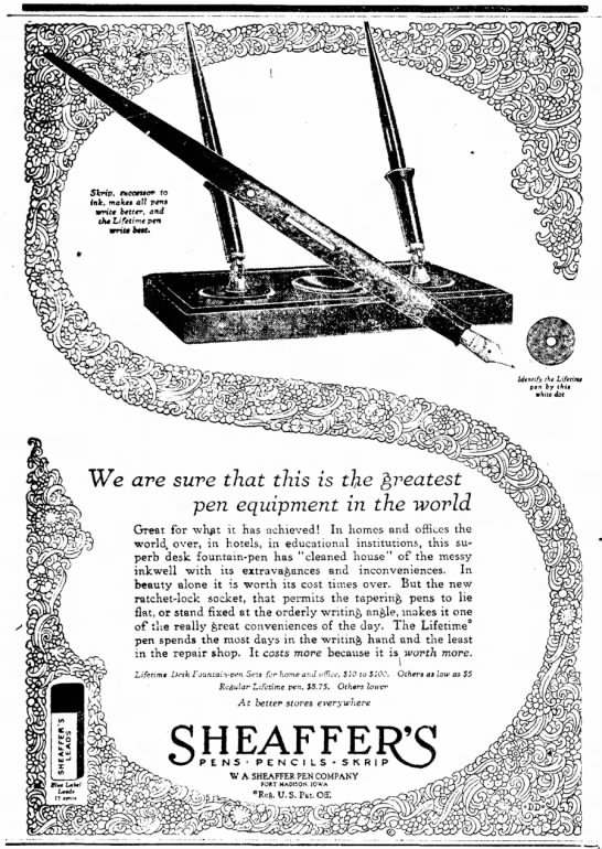 1927 Sheaffer Ad - SWp, ivcetaof to hit, make* all p«tt» write...