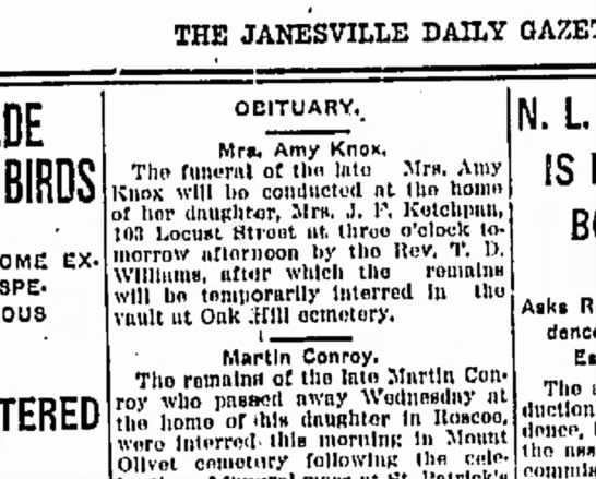 Amy Knox Funeral, 20 Jan 1912