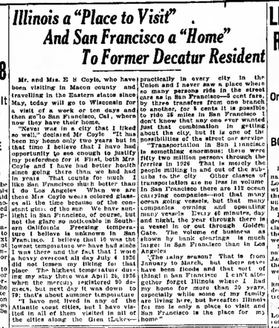 "Edward visits. Decatur Evening Herald 25 August 1927 - It Illinoisa""PlacetoVisit"" . And San Francisco..."