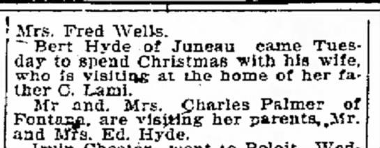 """Janesville daily gazette 12/27/17 - Mrs. Fred Wells. """" Bert Hyde of Juneau came..."""