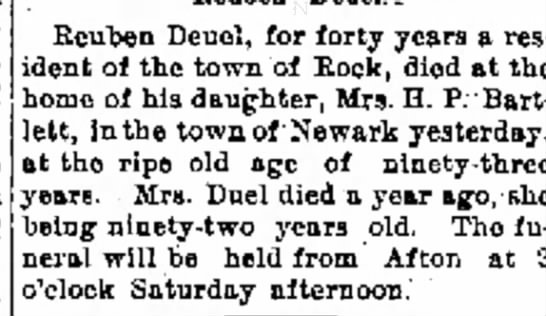 Janesville Daily Gazette 25 Feb 1892, page 4 - . Reuben Deuol, for forty years a res ident ol...