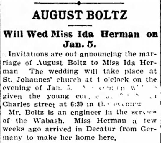 August Boltz Wedding - the man box- AUGUST BOLTZ Will Wed Miss Ida...
