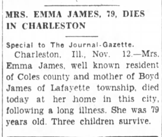 - MRS. EMMA JAMES, 79, DIES IN CHARLESTON Special...