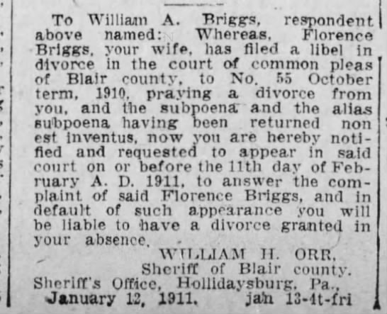 William A Briggs` wife Florence files for divorce - To Williaim A. Briggs, respondent above named:...