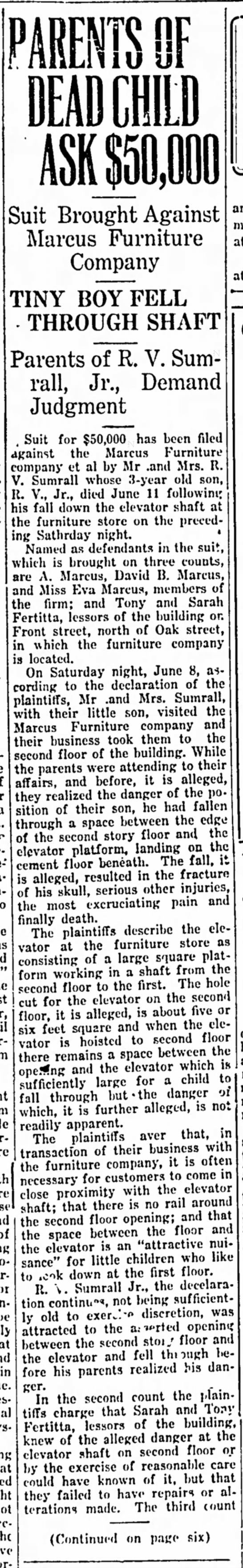 Marcus Furniture Fatality 16 June 1929 - Topeka, Suit Brought Against Marcus Furniture...