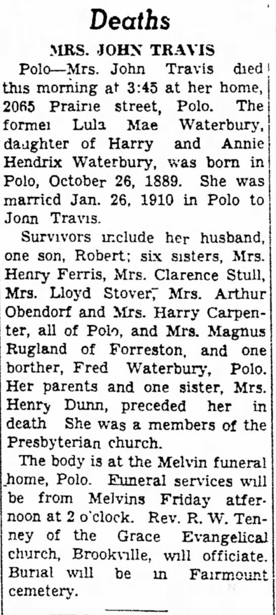 - Deaths MRS. JOHN TRAVIS Polo— Mrs. John Travis...
