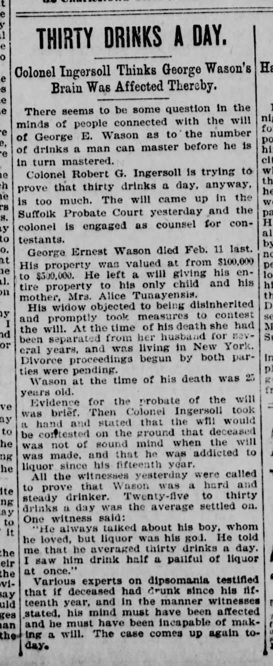 George ernest wason dies 1893 - to to. on 1 THIRTY DRIKK^A DAY. Colonel...