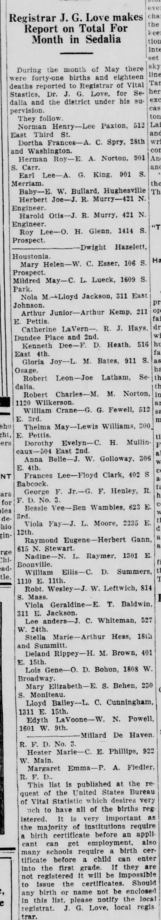 Birth Notice - William Crane Fewell - Report on Total For Month in Sedalia f'Vf...