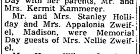 Monroe Evening time 02 june 1958 Stanley Holliday - Mrs. Kermit Kammerer. Mr. and Mrs. Stanley...