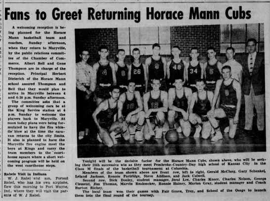 Horace Mann Basketball Championship Games March 10, 1956 - Fans to Greet Returning Horace Mann Cubs A...