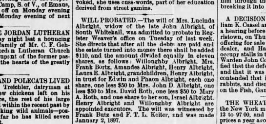Lucinda and John Albright (Henry Albright) 24 Nov 1897 Allentown democrat - Camp, 8. of V., of Emaus, off on Monday evening...