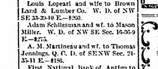 Mason Miller - Louis Lopearl and wife to lirown Land & Lumber...