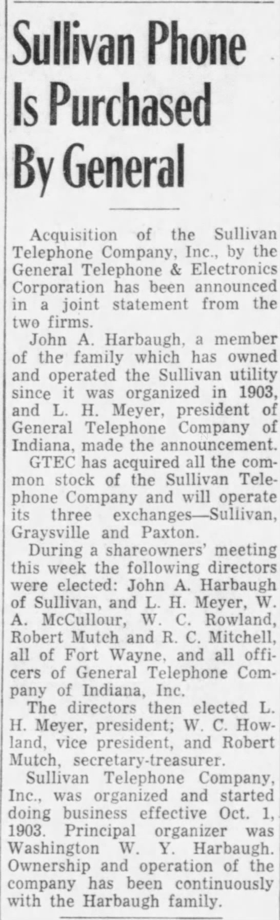 Robert Mutch, Director GTE of Indiana - Sullivan Phone Is Purchased By General...