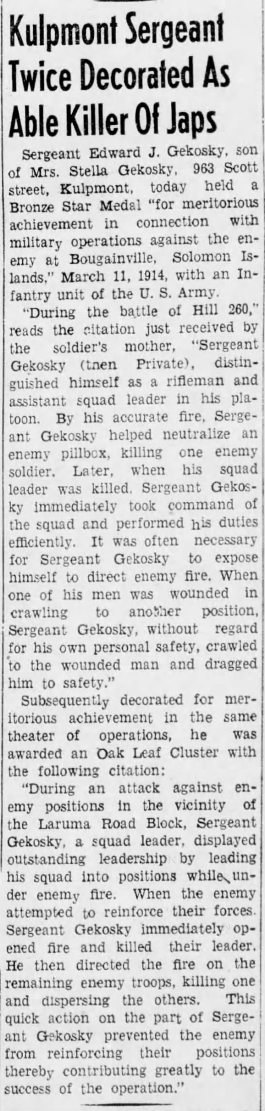 An article about Grandfather Edward Gekosky in WWII South Pacific [Mount Carmel newspaper] - Kulpmont Sergeant Twice Decorated As Able...