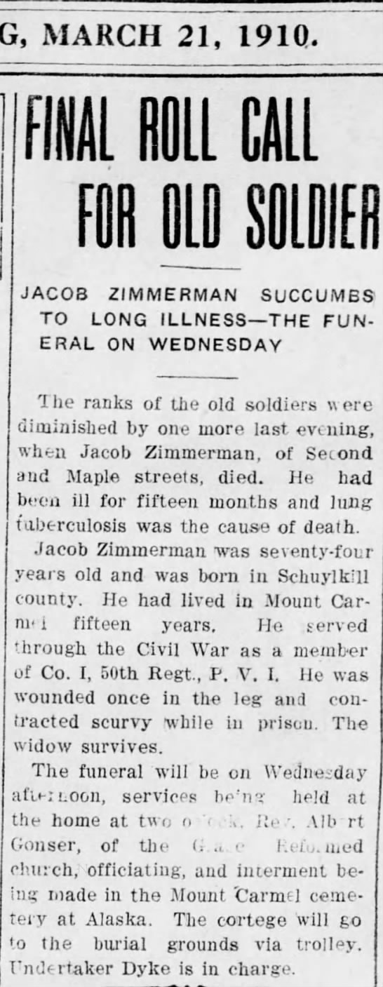 Jacob Zimmerman Death Notice - MARCH 21, 19 10. FINAL ROLL CALL JACOB...