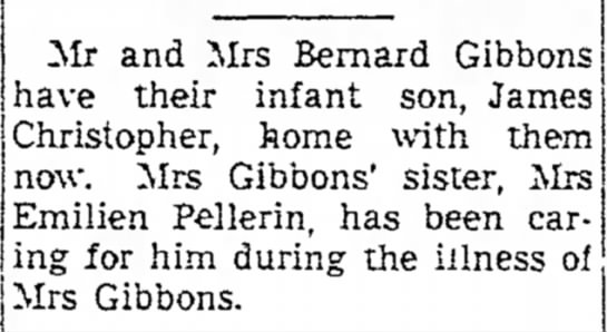 James Gibbons infant returns home from staying with Aunt Benny Jan 1951 - in Mr and Mrs Bernard Gibbons have their infant...