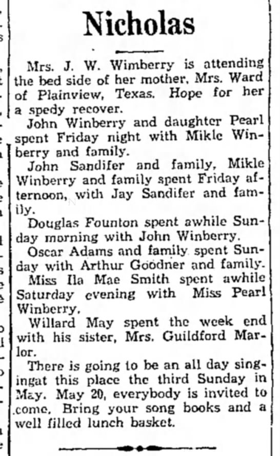 Winberry HS 15 May1934 p4 - Nicholas Mrs. J. W. Wimberry is attending the...