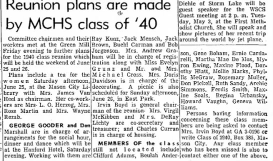 30 APR 1960 - Reunion plans are made by MCHS class of '40...