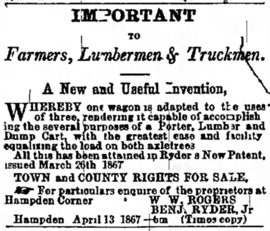 1867. Benj. Ryder, Bangor, ME. Patent. - V well worth twice they that more Toe to will...