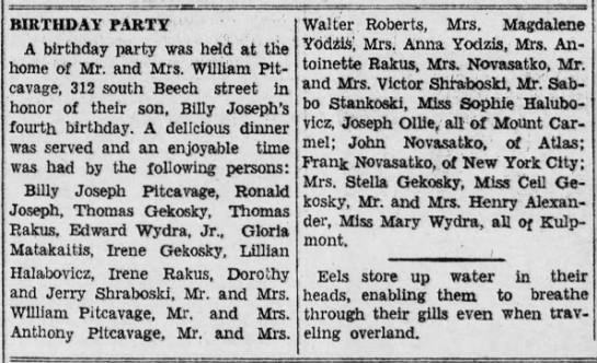 Billy Joseph Pitcavage birthday party list of guests 1941 - BIRTHDAY FARTY A birthday party was held at the...