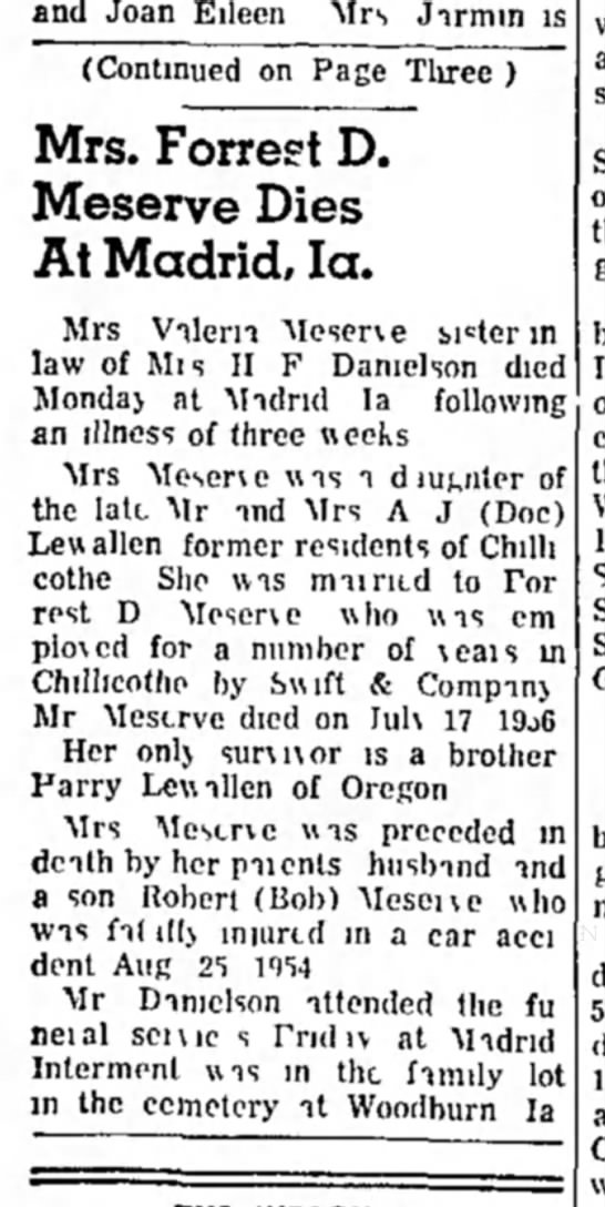 Valeria Lewallen Chillicothe Constution-Tribune Feb 13 1965 - and Joan Eileen Mrs Jirmm is (Continued on Page...