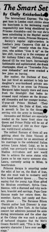 "Knickerbocker, Cholly, Shamokin News-Dispatch (Shamokin, Pennsylvania) 4 February 1959, p 4 - BC31' uu"" m ljOa0a court circles since The..."