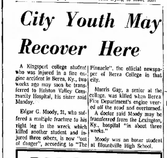 McKee Fire 3 - City Youth May Recover Here A Kingsport college...