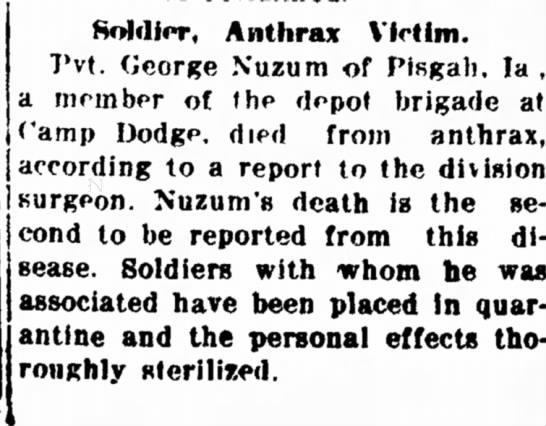 - Island Soldier, Anthrax Victim. Pvt. George...