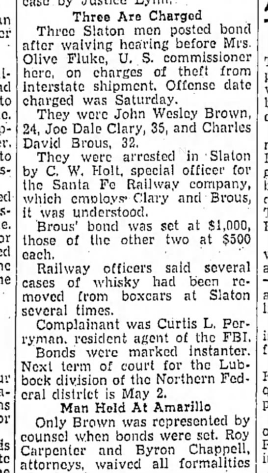 Charles David Brous, 32, arrested and charged with theft - to Three Are Charged Three Slaton men posted...