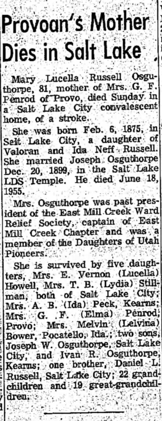 Mary Lucella Russell  - Prbvoan'S Mother Dies in Salt Lake; Mary LuceEa...