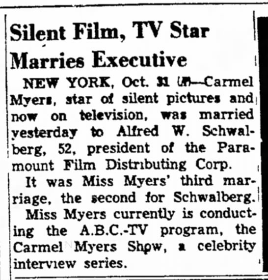 Silent Film, TV Star Marries Executive