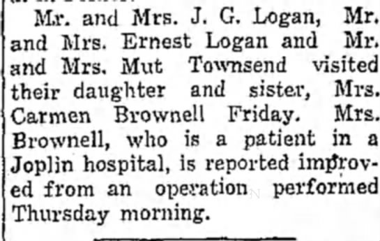 Carmen Logan has an operation in Joplin 1934 - Mr. and Mrs. J. G. Logan, Mr. and Mrs. Ernest...