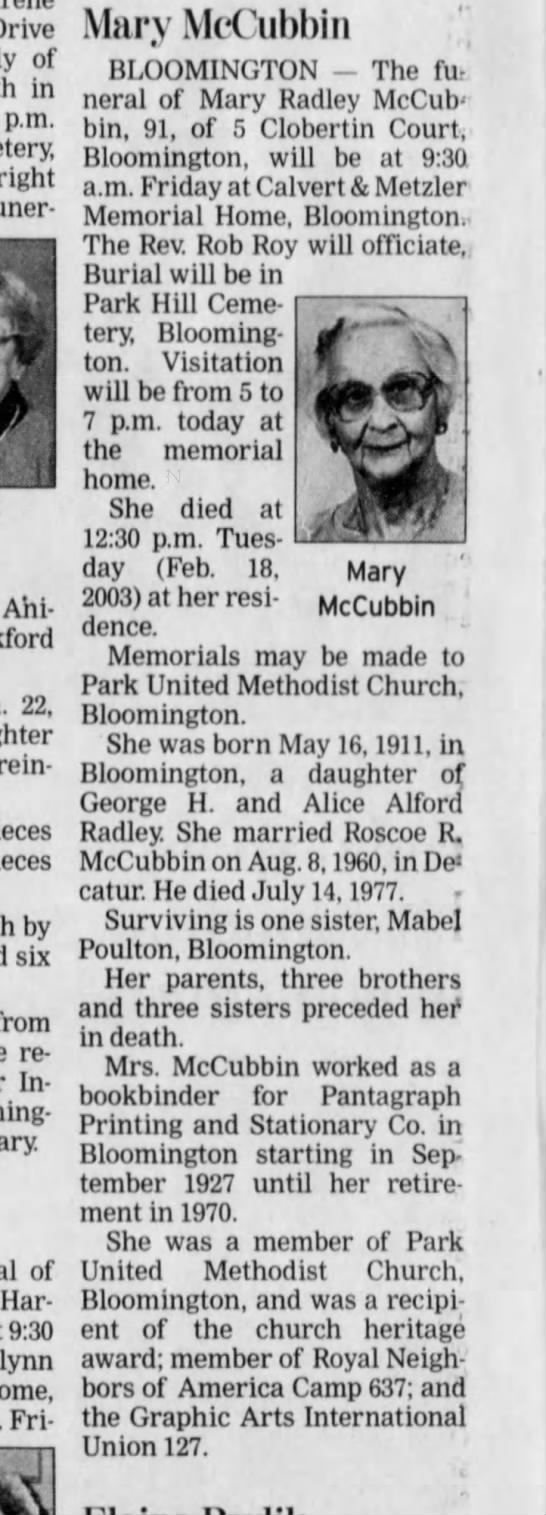 Mary Radley Mccubbin obit 20 Feb 2003 - Drive of in p.m. Wright Funer Ani 22, Grein-er...