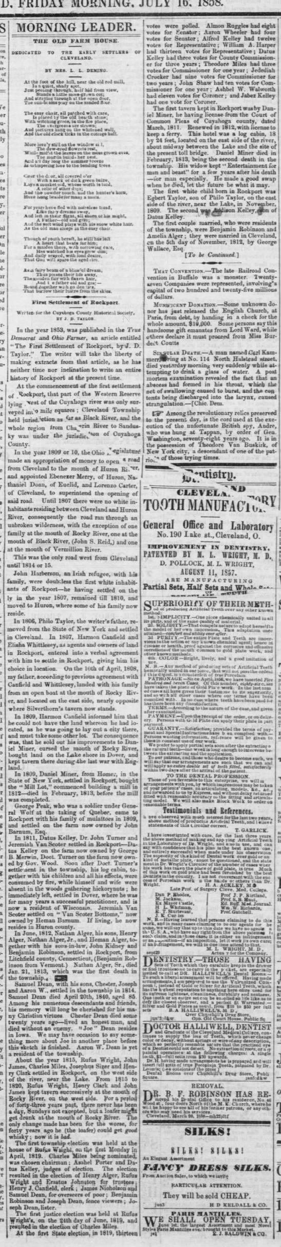 Early Cleveland history (1858 article) - FRIDAY MORNING. JULY at o ' a at ly in a...