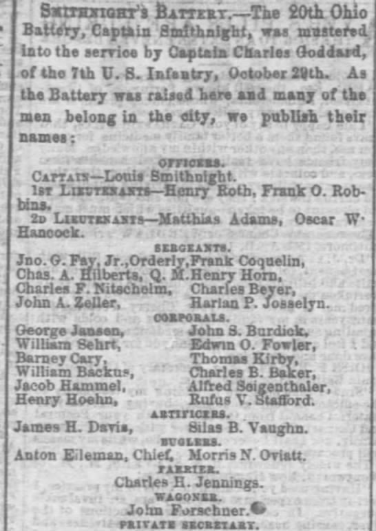 1862 Nov 10 John Forschner mustered into Civil War service - SstTHXtQHT'l &ATTEKT. The 20th Ohio Battery,...