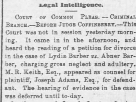 1864 Nov 29 Cleveland Daily Leader-Lydia-Abner Barber divorce - Legal Intelligence. Court or Com Hon Plcab....