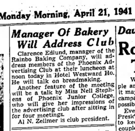 Clarence Edlund speaks to Advertising Club 1941
