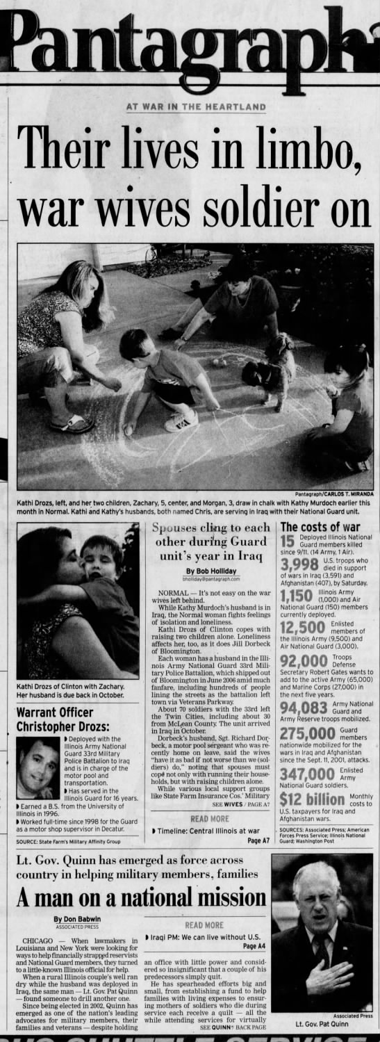 "from July 15, 2007 pantagraph - AT WAR IN THE HEARTLAND Id . rf"" y I Their..."