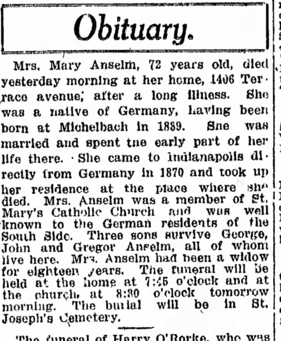 Mary Anselm obit June 2, 1912 Indy Star  - pre- Association · Obituary. Mrs, Mary Anselm,...