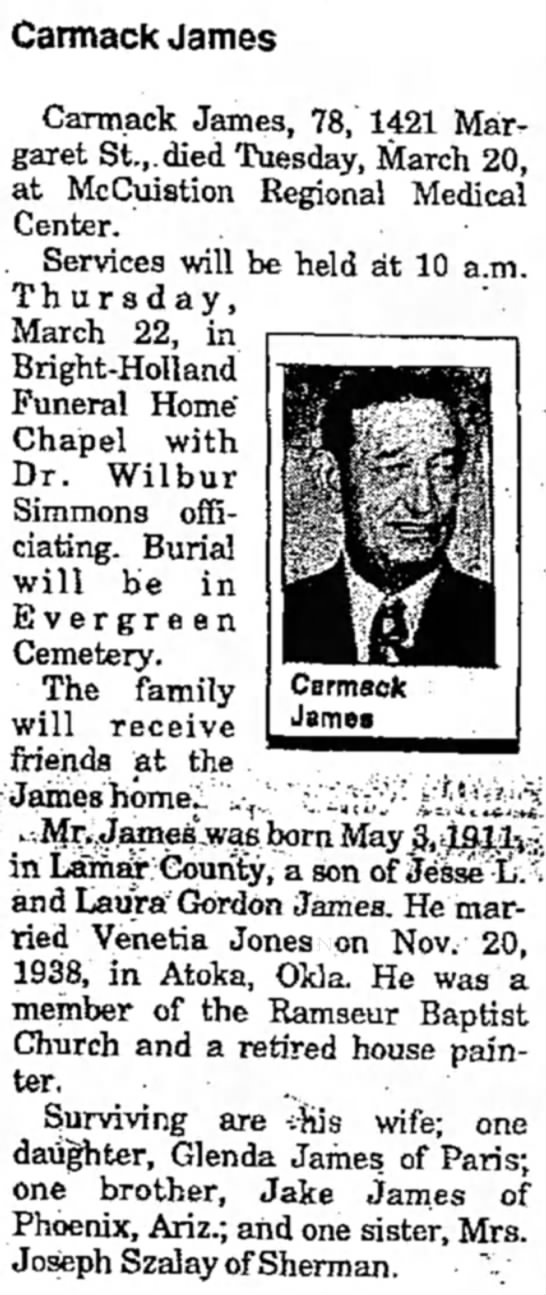 Camarck James, husband of Venetia E. Jones James. - Carmack James Carmack James, 78, 1421 Margaret...
